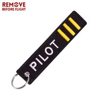 Wholesale label keychains resale online - Remove Before Flight Keychain Jewelry Embroidery Co pilot Key Chain for Aviation Gifts Luggage Tag Label Fashion Keychains