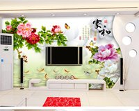 Wholesale chinese fish pictures for sale - Group buy Custom Retail Home And RIch Nine Fish Picture Chinese D TV Background Wall Fish Jump Gantry Color Peony Delicate And Lively Mural