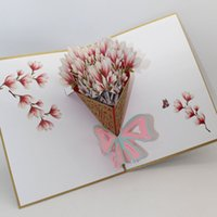 Wholesale love pop cards resale online - Handmade D Pop Up Cards Mothers Day Gift Card I Love Mom Carnation Flowers Sympathy Greeting Cards for Mother Birthday Card