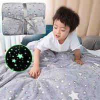 Wholesale Magical Luminous Kids Blanket Soft Fluffy Flannel Star Moon Blankets Christmas Gift Home Rug Children s Fluorescent Blanket
