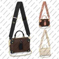 Wholesale khaki cross body bags women for sale - Group buy M45571 M45393 Mini Desinger handbag calf leather women handbag embossed canvas rivet corner crossbody evening bag purse