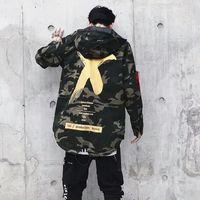 Wholesale camo military jacket women for sale - Group buy Big Letter X Coat Camo Jacket Red Yellow Military Hoody Windbreakers Hip Hop Jackets Outwear Men Women US Size