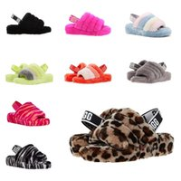 Wholesale peep toes boots resale online - 2020 New Women Furry Slippers Australia infants fluff yeah slide casual shoes womens Luxury Sandals Fur Slides Slippers size SO5