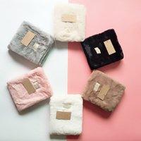 Australia Designer Scarves Winter Plush Scarf Women Girls Soft Fleece Neck Gaiter Trendy Label Thickened Warm Neckerchief Faux Wool Collar Gift