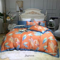 Wholesale queen bedset for sale - Group buy High Quality Retro Bedding Sets Orange Cartoon Leaves Cotton Queen King Bedset Bedding Sets For Home