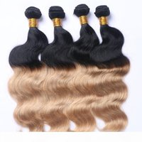 Wholesale strawberry blonde resale online - Dark Root Ombre Strawberry Blonde Two Tone b Color Blonde Human Hair Weft Bundles Ombre Hair Weaves