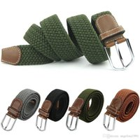 Wholesale military canvas belts resale online - Hot Male Military Belt Top Quality Cm Wide Woven Stretch Braided Elastic Leather Buckle Luxury Canvas Belts