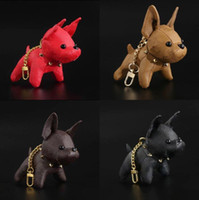 2021 Designer Cartoon Animal Small Dog Key Chain Accessories Key Ring PU Leather Letter Pattern Car Keychain Jewelry Gifts No Box
