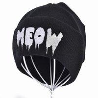 Wholesale meow beanies resale online - Fashion Meow Knit Cap Men Women Casual Hip Hop Hats Knitted Wool Skullies Beanies Hat Warm Winter Hat For Women Beanie