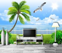 Wholesale paintings clouds sky resale online - Custom Retail D Stereo Seascape Background Wall Painting Blue Sky White Clouds Coconut Tree Bird Seascape Mural