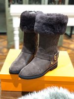 Wholesale new fur boots resale online - Fashion new winter ladies black pink flat bottomed middle tube fur one leather thickened wool warm boots