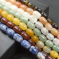 barrel agate beads 2021 - 10x14mm Natural Stone Barrel beads For Jewelry Making Loose Cylindrical Crystal Agate Stone Tiger Eye Beads Strand 15''