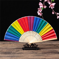 Wholesale japanese blossom tree for sale - Group buy 10pcs Plum Blossom Pattern Silk Folding Fans Chinese Japanese Style Folding Cloth Hand Held Fan Wedding Dance Silk Fans yxlSil dh_niceshop