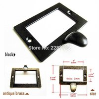 Wholesale file tags for sale - Group buy 6pcs Brass Black Super Heavy Duty Large Metal Cabinet Drawer Tag Label Pull Frame Handle File Name Card Holder mm wmtlDo dh_niceshop