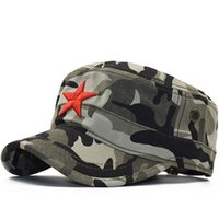Wholesale star military hats resale online - Simple Classic Camouflage Men Five Stars d Embroidery Military Caps Army Cadet Hats Cotton Adjustable Flat Top Patrol Cap bbyGEJ