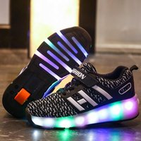 Wholesale wheels for shoes resale online - Kids Glowing Sneakers Sneakers with wheels Led Light up Roller Skates Sport Luminous Lighted Shoes for Kids Boys Pink Blue Black