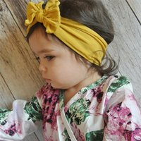 Wholesale hairband new style resale online - New style hot selling bohemian children cute hairband baby nylon silk hairband fashion bow knot wide headband