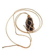 Wholesale natural black tourmaline pendant for sale - Group buy 1 Natural Black Tourmaline Stone Hand Woven Rough Stone Crystal Pendant Energy Necklace Fashion Jewelry