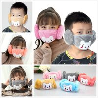 Wholesale bear face mask resale online - 2 In Child Cartoon Bear Face Mask Cover Plush Ear Protective Thick Warm Kids Mouth Masks Winter Mouth Muffle Earflap Masks EEC2706
