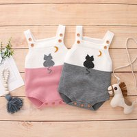 Autumn Spring Baby Boys Romper Infant Baby Girls Wear Cute Cat Knitted Jumpsuit Wool Baby Clothing Romper Infant Boys Coat 201028