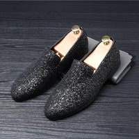 Wholesale spiked dress shoes for men resale online - designer shoes men silver gold spiked loafers male rhinestone luxury dressing moccasins studded cool flats shoes brand for men