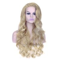 Wholesale amazon wigs resale online - Hot selling European and American wigs female Amazon color drifting dyeing gradient long curly hair golden wig wig