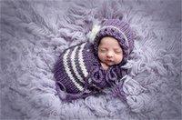 Wholesale purple newborn hat resale online - 0 Month Purple Hat Sleeping Bag Suit Newborn Baby Photography Props Baby Clothes Newborn Crochet Handmade Costome Make Photoes