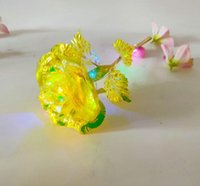 Wholesale gold colored roses resale online - 24k Gold Foil Plated Rose Led Rainbow Flower Gold plated Rose Light Valentine Gift Christmas Wedding Decorations GGA3767