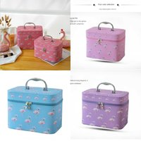 Wholesale cute korean style bags for sale - Group buy 3auY6 portable cosmetic ins Flamingo cute Storage cosmetic girl heart Korean storage bag toiletries pu style bag VF3Ci