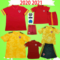 camisa de los niños de fútbol amarillo al por mayor-Adulto para hombre 2020 2021 Gales Soccer Jersey 20 21 Kit Kid Kit Football Shirt Boys Bale Maillot de Foot Ramsey Red Yellow Player Versión