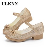 Wholesale gold glitter low heels for sale - Group buy ULKNN Girls Sandals Princess Shoes High Quality Leather Glitter Heels Summer Party Shoes for Girl Baby Kids Sandals GOLD FLAT