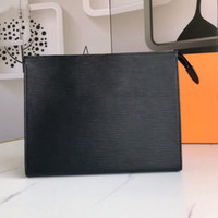 Wholesale black leather travel cosmetic case resale online - Top quality Clutch for men tote cosmetic bag women big travel organizer storage wash bag leather make up bag men purse Cosmetic case