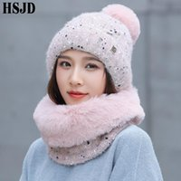 Wholesale mink beanie hat for sale - Group buy Sweet lovely Snowflake Dots Knitted Hat And Mink Plush Scarf Set Winter Women s Hats Thick Warm Skullies Beanies Female Cap