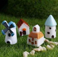 Wholesale fairy houses for sale - Group buy Creative Resin Decor Mini Castle Windmill Church House Moss Terrarium Green Plant Gift Micro Landscape Accessories Fairy Garden DIY SN1976