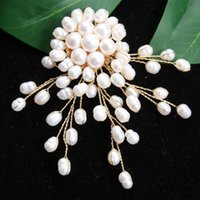 Wholesale wedding flower badge resale online - Brooch Freshwater Pearl Flower Brooches pearl brooches for women Wedding Dress Badge Accessories Jewelry Handmade