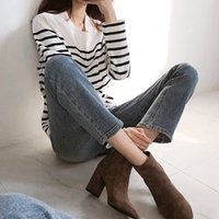 Wholesale 4cm rounds for sale - Group buy 3 Colors Ladies All match High heeled Nude Boots CM CM Round Head Suede Zipper Boots Size