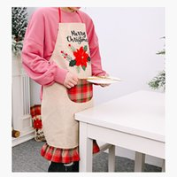Wholesale christmas aprons adult resale online - New Christmas decoration supplies big red linen apron creative adult Christmas apron restaurant atmosphere dress up T3I51329