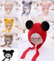 Wholesale infant easter hats resale online - Winter Knitted Warm Baby Hat Cute Double Pompom Infant Baby Boy Girl Cap Ear Protection Hats Kids Children Beanie bonnet enfant DB104