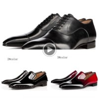 Wholesale spiked dress shoes for men for sale - Group buy LwN7d fashion designer men loafers black red spike Patent Leather Slip On Dress Wedding flats bottoms Shoe flat Shoes flat shoes for Busines