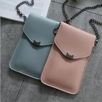 Wholesale long screen mobile online – 2020 New Cute Pu Leather Cat Ear Decoration Long Purse Buckle Clutch Mobile Phone Touch Screen Bag Women s Wallet