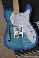 Wholesale blue hollow body electric guitar resale online - Classic Electric Guitar Advanced Flame Board Transparent Blue Gradient Semi Hollow F Empty Body Precision Production Providing Persona
