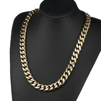Wholesale gold filled cuban chains for men for sale - Group buy Granny Chic HIP Hop Inch IP Gold Filled Heavy Stainless Steel Curb Cuban Link Rombo Chain Necklaces for Men Jewelry