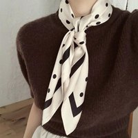 Wholesale square silk scarves for women resale online - AOMU French Retro Winter Polka Dot Square Silk Scarf Fashion Korean Sweet Ribbon Scarf Shawl for Women Tender Handkerchief