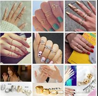 Wholesale punk rock knuckle ring for sale - Group buy 15 Styles Punk Rock Gold Stack Plain Band Midi Mid Finger Knuckle Rings Set For Women Mid Finger Ring Thin Ring Jewelry C623