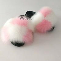 Wholesale slippers for kids for sale - Group buy 2019 Kids Real Fox Slippers Raccoon Slides Chinelos Menina Slippers Toddler Baby Girls Shoes fox fur slides fur slides for kids Y200106