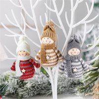 Wholesale doll s resale online - Christmas Tree Decorations Knitted Doll Snowman Hanging Ornaments Holiday Indoor Party Favor New Year Seasonal Decor JK2011XB