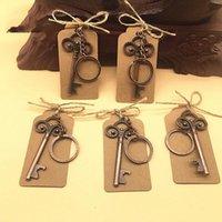 Wholesale vintage keys for wedding for sale - Group buy Vintage Key Bottle Opener With Tag Cards Wedding Favour Skeleton For Party Rustic Decoration