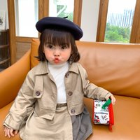 canvas trench 2021 - INS Designer style kids trench coat outfits fashion children lapel plaid patchwork khaki short trench coat plaid skirts 2pcs sets