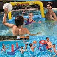 water-polo achat en gros de-Water Beach Ballon Gonflable enfants Polo Ball Game Eau Adulte Bébé Jouet Set Fun Water-polo Volley-ball
