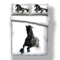Wholesale 3d bedding set for adults resale online - 3D Bed Linen White Twin Queen King Duvet Cover Set Black Horse Twin Full Nordic Bedding Set For Adult Child Kids Home Bedclothes C1020